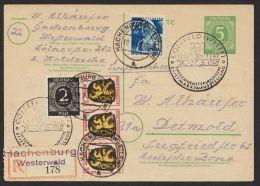 """Mi-Nr. P950, Bedarfs-R-Karte Mitdek. Zusatzfrankatur """"Hachenburg"""", 19.7.47 - Gemeinschaftsausgaben"""