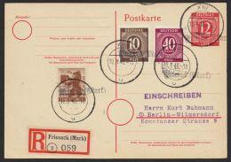 """Mi-Nr. P953, Portoger. R-Karte Mit Ankunft, Hilfs-Stempel """"Friesack"""", 10.9.46, Gute Zusatzfrankatur, O - Gemeinschaftsausgaben"""