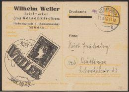 """Mi-Nr. P 905, Zudruck """"Weller, Gelsenkirchen"""", Händlerangebot Europ. Briefmarken, Bedarf. 12.8.46, O - Bizone"""