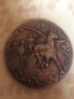 Medaglia Grande Modulo Placcata In Argento Ippica Equitazione Vecchia - Equitation