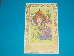 Illustrateur ) Les Bijoux Modernes ( Glace De Poche )  Art Nouveaux - Style Mucha - Sans Signature  - Année : EDIT : - 1900-1949