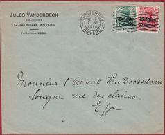 Belgien 1916 WW1 WWI Deutsches Reich Surcharge 5 Und 10 Centimes Antwerpen Anvers Jules Vanderbeck Charbons Steenkool - Other Covers