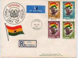 Ghana 1967, FDC Birds, Complete Set - Ghana (1957-...)