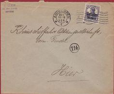 Belgien 1918 WW1 WWI Deutsches Reich Surcharge 15 Centimes Antwerpen Rheinschiffahrt Binnenscheepvaart - Guerre 14-18