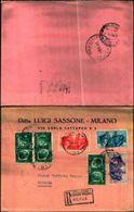 87002) RACCOMANDATA CON 3x25c.+50c.+75c.+1,25l. FRATELLANZA D'ARMI DA MILANO A CATANIA IL 3-10-1941 - Poststempel