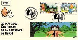 FRANCE Poste 2007 #10 Moulinsart Cachet Premier Jour FDC TINTIN Voyages KUIFJE TIM HERGE GUEBWILLER - Fumetti