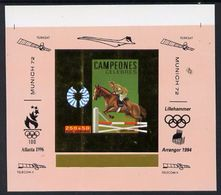 Guinea Equat. 1994, Olympic Games In Munich III, Overp. Atlanta 96, Lillehammer 94, Horse Race, Concorde, Gold In De Lux - Winter 1994: Lillehammer