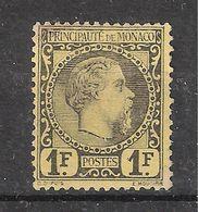 MONACO 1885, Prince Charles III , Yvert N° 9, 1 F FRANC  Noir / Jaune Neuf (*) MNG, Bon Centrage TB , Cote 2550 Euros  ! - Neufs