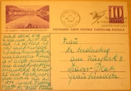 Bild-Postkarte 10c Lila ST.MORITZ - HEILBAD IM HÖHENKLIMA Mit O Von ST.GALLEN 16.I.1941 GESUNDHEIT DURCH WINTERSPORT - Termalismo