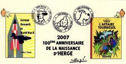 SUISSE Tintin HERGE Carte Illustrée Avec Les 3 Cachets Des Manifestations 2007 : Genève - Bulle - Lausanne - FDC