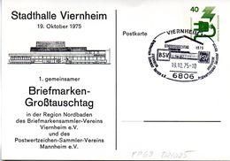 "(BPGS) BRD Privatganzs.-Postkarte PP069 D2/025 ""Stadthalle Viernheim"" SST 19.10.1975 VIERNHEIM 1 - [7] République Fédérale"