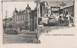 Litho AK Marienbad Mariánské Lázně Hotel Kaiserhof Straßenbahn Tram Tepl Tepla Wischezahn Vysocany Habakladrau Kladruby - Sudeten
