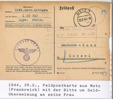 Feldpost Metz 29.02.1944 Nach Kassel Einheit 16202 - Dienstpost