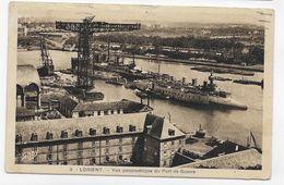 (RECTO / VERSO) LORIENT EN 1939 - N° 3 - VUE PANORAMIQUE DU PORT DE GUERRE - TIMBRE ARRACHE - CPA VOYAGEE - Lorient