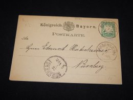 Germany Bayern 1870's Regensburg 5pf Green Stationery Card__(L-9484) - Bayern