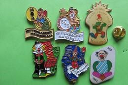 6 Pin's, Clown, Glöön, Carneval, Fasnacht - Badges