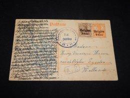 Germany Belgium 1910's Censored Overprint Stationery Card To Netherlands__(L-9131) - Zone Belge