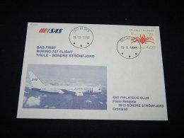 Greenland 1993 SAS First Flight Thule-Söndre Strömfjord__(L-8222) - Briefe U. Dokumente