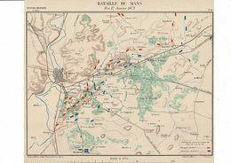 MILITARIA Guerre De 70 Carte De La Bataille Du MANS Le 11-12 Janvier 1871. Plan établi En 1887. - Documenten