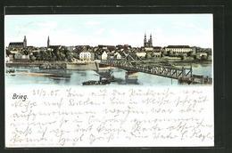 Lithographie Brieg, Ortsansicht Mit Brücke - Schlesien