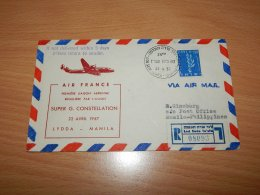 Israel 1957 Air France First Flight Lod-Manila__(L-7912) - Briefe U. Dokumente