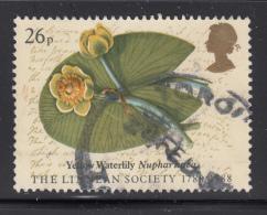 Great Britain 1988 Used Scott #1202 26p Yellow Waterlily Linnean Society - 1952-.... (Elizabeth II)