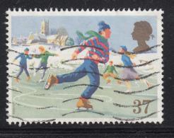 Great Britain 1990 Used Scott #1344 37p People Skating Christmas - 1952-.... (Elizabeth II)
