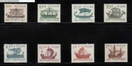 POLAND 1965 SAILING SHIPS SERIES 3 SET OF 8 NHM Wooden Boats Sea Maritime Travel - Barcos