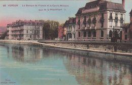 Cp , 55 , VERDUN , La Banque De France Et Le Cercle Militaire, Quai De La République - Verdun