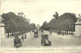 """434 """"PARIS,L'AVENUE DES CHAMPS ELYSE'ES ET LES CHEVAUX DE MARTY""""-  CART ORIG ANIMATA CON VETTURE E CALESSE-SPEDITA - Champs-Elysées"""