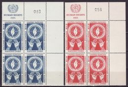 UN New York 1953 Mi 25-26,incription Block Of 4, MNH** VF - Ungebraucht