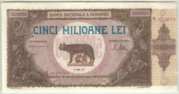 ROMANIA * ROUMANIE * RUMANIEN * 5.000.000  LEI  1947  UNC ( Serial B/I #0919319 ) - Romania