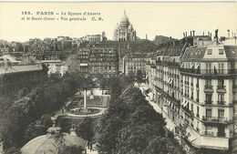 """438-""""PARIS LE SQUARE D'ANVERS ET LE SACRE' COEUR - VUE GE'NE'RALE"""" CART. ORIG ANIMATA - Piazze"""
