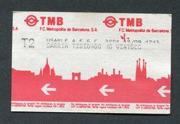 """Ticket De Métro De Barcelone """"TMB F.C. Metropolita De Barcelona S.A. - Billet De Transport - Métro"""
