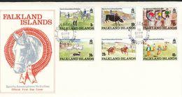 Falklandinseln,  Mi.Nr.   507 - 512  FDC    Sportveranstaltungen: Kinderzeichnungen - Falklandinseln
