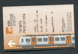"Ticket De Train De Barcelone ""FGC Ferrocarrils"" Billet De Transport - Chemins De Fer"