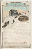 Peterbaude Im Riesengebirge V.1894!!  Peterbaude,Bes. Vinzinz Zinecker,Erholungssaal,Schlittenfahrer (7) - Schlesien