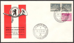BER SC #9N120(2), 9N121 1956 Brandenburg Gate, G.P.O. FDC 02-23-1957 - [5] Berlin