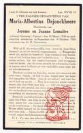 DP Kind Pieuse Enfant - Maria Alb. DeJonckheere / LeMaître 10j. ° Gueures FR Normandie 1920 † Roeselare BE 1930 - Images Religieuses