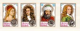 Dubai 1971 Mi Nr 397 - 400, Beroemde Mensen, Albrecht Dürer, Isaac Newton, Avicenna (Ibn Sina) , Voltaire - Dubai