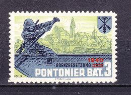 Soldatenmarke, Pontonier Bat. 3, Grenzbesetzung 1940, Ungebraucht (45852) - Labels