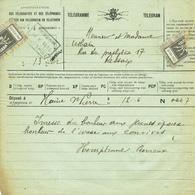 Télégramme1933 De La Régie Des Télégraphes  & Téléphones De Belgique - Félicitation Pour Un Mariage (T109) - Mariage