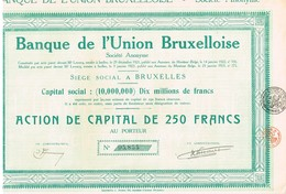 Action Ancienne - Banque De L'Union Bruxelloise - Titre De 1923 - - Banque & Assurance