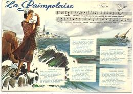 """"""" LA PAIMPOLAISE """" Par Theodore BOTREL . 6eme COUPLET AU VERSO . 2 SCANES - Paimpol"""