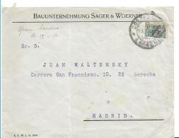 SPM009 / Spanisch-Marocco, ,  Brief Mit Halbierung Von 1920 , Überdruck 15 Cs. Auf 30 Cs. Larache 1920 - Spanisch-Marokko