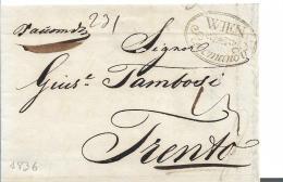 AV087 / Wien, Recommandiert 1836 Nach Trento - ...-1850 Prefilatelia