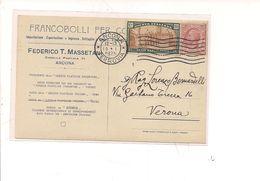 7543 Regno 1925 Anno Santo 20+10c + Leoni 10c Card Pubblicitaria Vendita Francobolli Ancona - 1900-44 Vittorio Emanuele III
