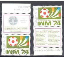 Poland 1974 - Soccer Munich Mi 2x2328 + Label From M/s 60 - Used - Gestempelt - Blocs & Hojas