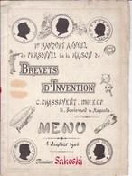 PARIS Boulevard MAGENTA 6 Janvier 1906 Personnel Maison BREVETS Et INVENTION Monsieur SAKOSKI Format A 4 Faces - Menükarten