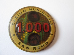 Rare! Vintage Token Casino Municipale San Remo-Gaming Chip 1.000,diameter=32 Mm - Casino